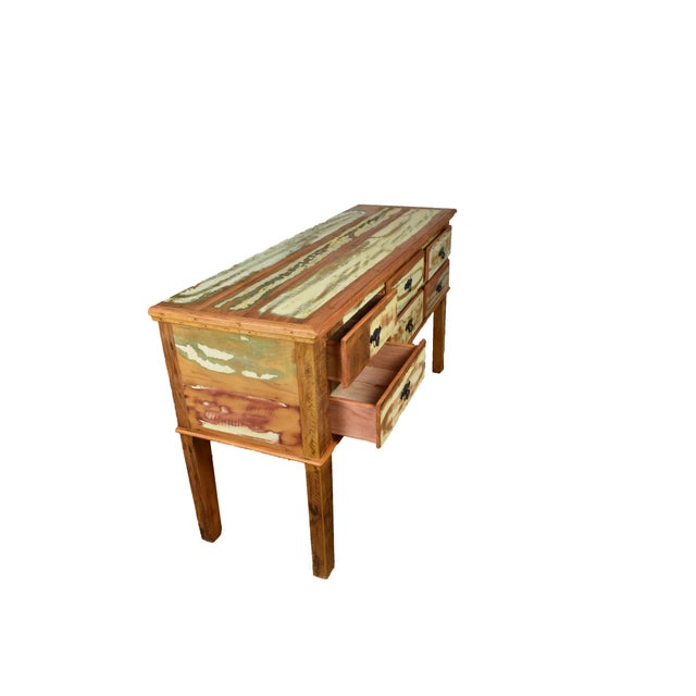 Boho Chic Reclaimed Peroba Wood Handmade Eco-Friendly 6 Drawer Console Table For Sale - Image 3 of 6