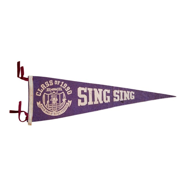 Class of 1990 Sing Sing Brass And Stripes Forever Felt Flag For Sale - Image 4 of 4