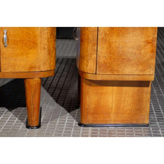 Exquisite Restored Pair Of Art Deco Small Cabinets In Walnut For Sale - Image 9 of 10