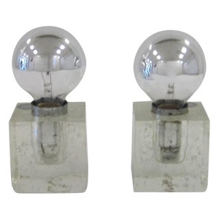 Pair Italian Postmodern Poliarte Ice Cube Clear Art Glass Table Lamps, Ca. 1970s For Sale