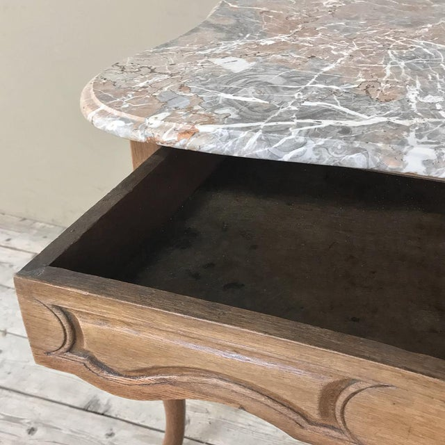 19th Century French Louis Philippe Walnut Marble Top Writing Table For Sale In Dallas - Image 6 of 12