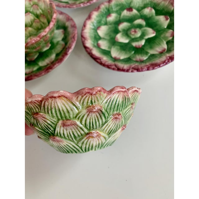 1990s Fitz and Floyd Artichoke Ceramic Serving Bowls and Plates Set - 6 Pieces For Sale - Image 5 of 13