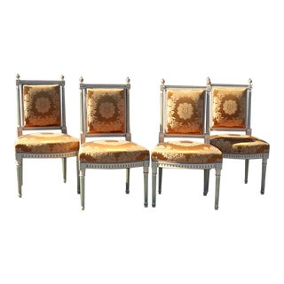 Set of 4 Maison Jansen Louis XVI Style Paint Decorated Silk Side Dining Chairs For Sale