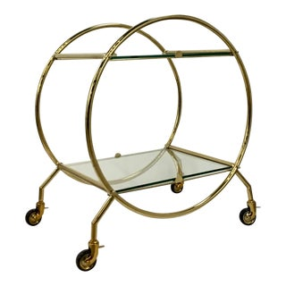 Regina Andrew Modern Art Deco Style Glass and Brass Finished Two-Tier Bar Cart For Sale