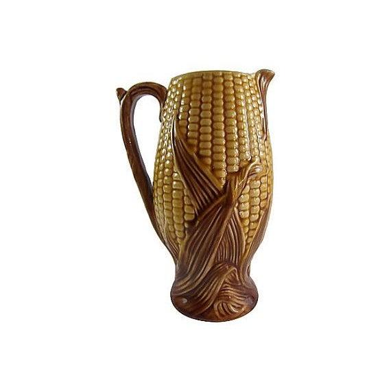 Majolica Antique English Majolica Corn Pitcher For Sale - Image 4 of 4
