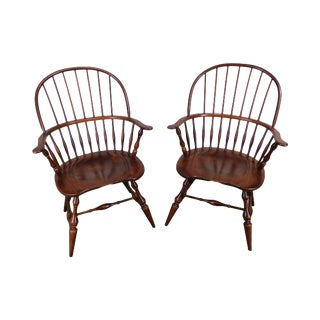 Nichols & Stone Pair Traditional Rockport Windsor Armchairs (B) For Sale