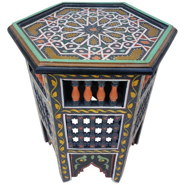 Paint Moroccan Hexagonal Hand Painted Wooden End Table For Sale - Image 7 of 7