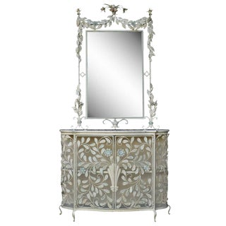 20th Century Art Nouveau Floral Wrought Iron Mirror & Marble Top Console Table For Sale