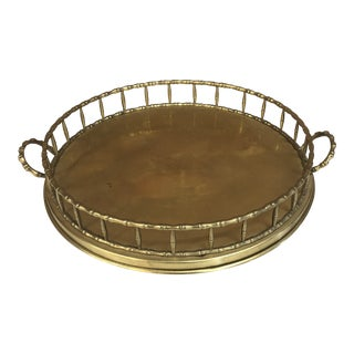 Vintage Brass Faux Bamboo Round Tray For Sale