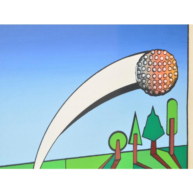 """Abstract Vintage Cubist Golf """"A Birdie"""" Silkscreen by Herman c.1977 For Sale - Image 3 of 7"""