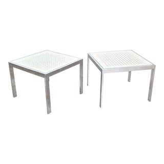 Pair Chrome and White Cane Square Side Tables Glass Top Mid Century Modern to Modern For Sale