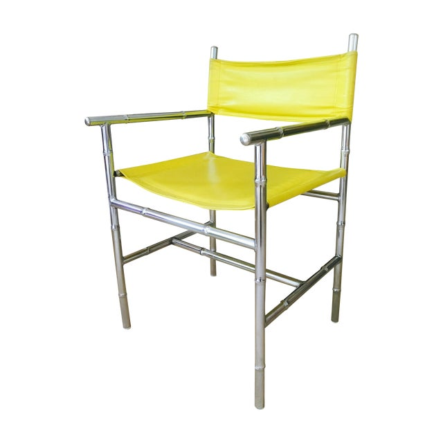 Mid-Century Chrome Arm Chair in Yellow - Image 1 of 8
