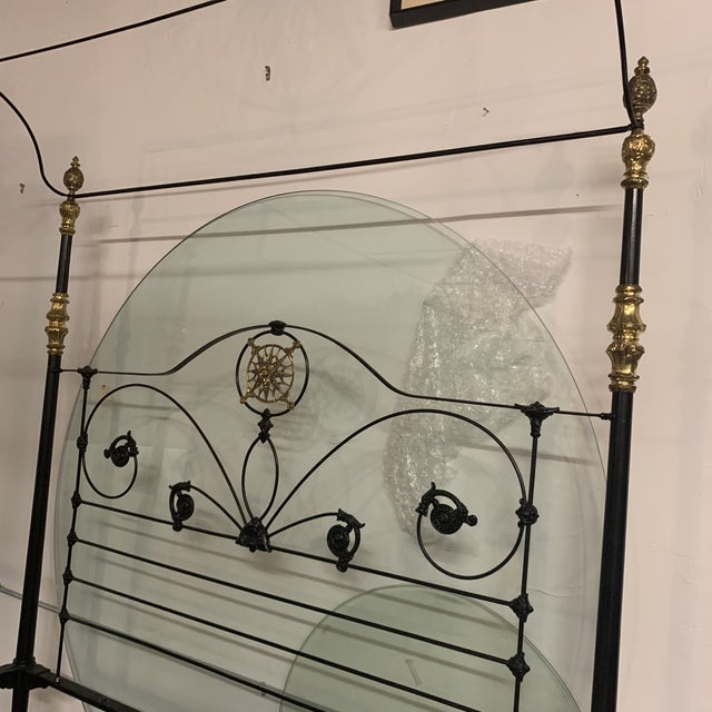 19th Century Victorian Brass and Iron King Bedframe For Sale - Image 10 of 13