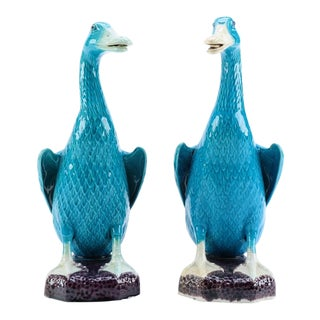 Vintage Chinese Mid-Century Glazed Ceramic Duck Figurines - a Pair For Sale