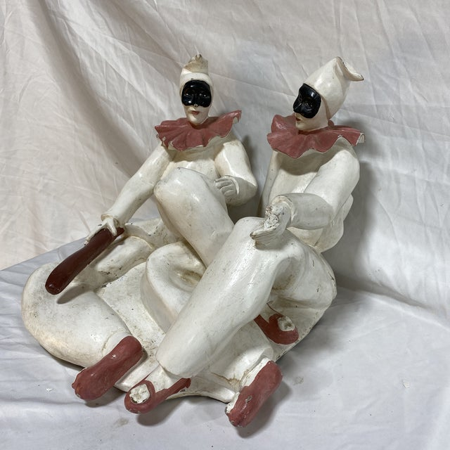 Very cool sculpture of two clowns or jesters, apparently worn out from their act. Original price tag friends Miller &...