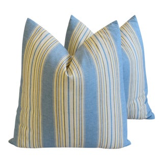 """French Blue Striped Ticking Feather/down Pillows 24"""" Square - Pair For Sale"""