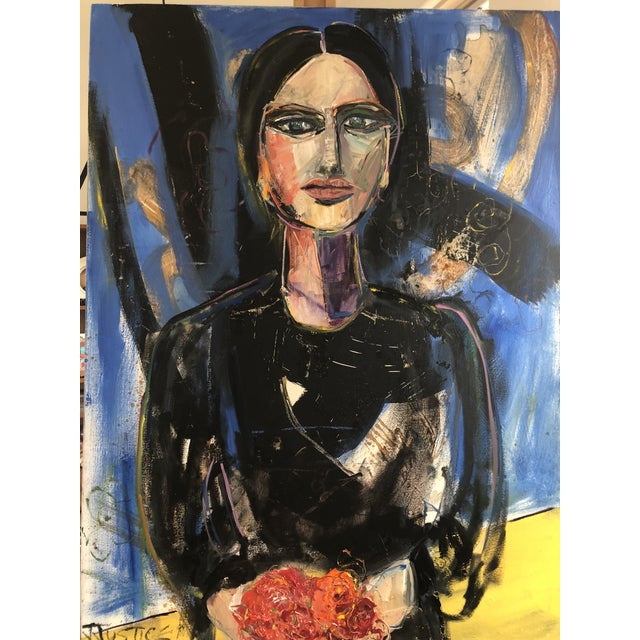 Title - She Brought Flowers. An original oil painting on professional grade canvas. This piece was created with gesso,...