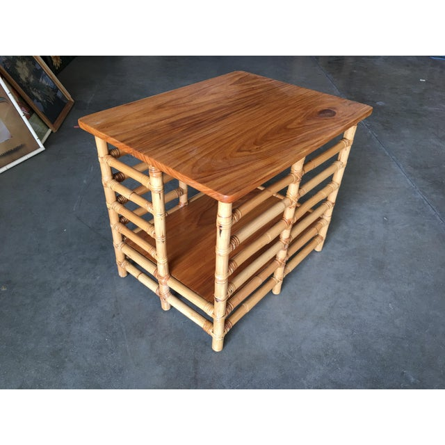"Mid-Century Modern Restored Mid Century Rattan Floating ""Jacob's Ladder"" Side Table For Sale - Image 3 of 8"