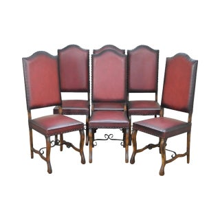 Spanish Renaissance Revival Style Walnut Dining Chairs - Set of 6