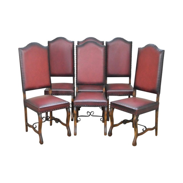Spanish Renaissance Revival Style Walnut Dining Chairs - Set of 6 For Sale