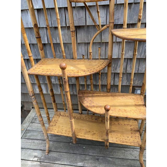 Wood Vintage Asian Bamboo Etagere For Sale - Image 7 of 9