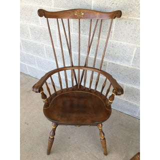 Nichols & Stone Paint Decorated Windsor Comb Back Arm Chairs - a Pair Preview