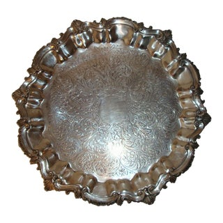 Footed Scallop Edge Silverplate Serving Tray For Sale