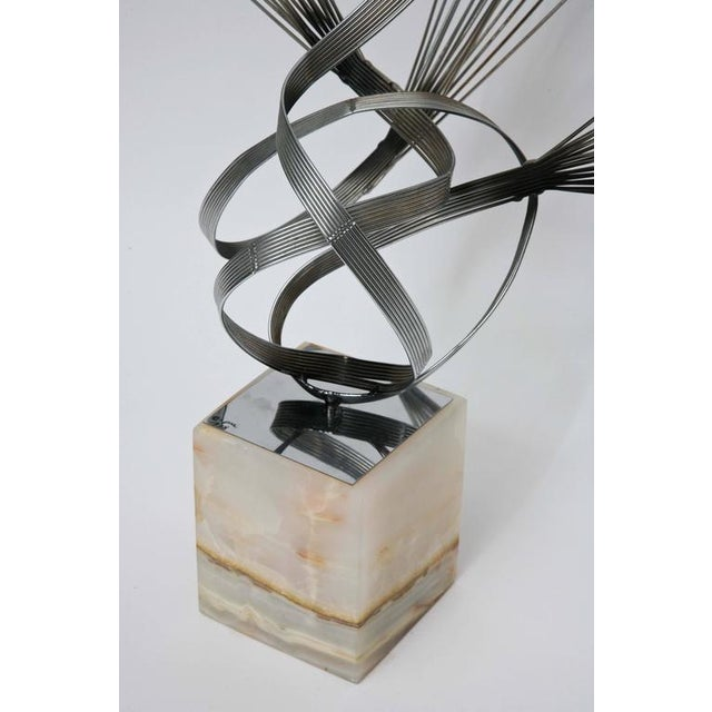 White Large Curtis Jere Spirited Wire Table Sculpture For Sale - Image 8 of 9