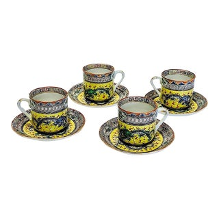 Chinese Early Republic Period Famille Jeune Demitasse Cups & Saucers With Dragons - Set of 4 For Sale