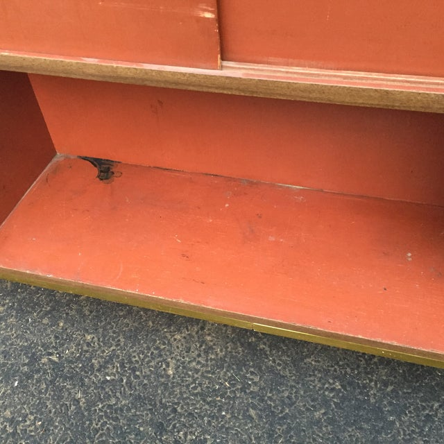 Brown Mid-Century Modern Faux Wood Dry Bar For Sale - Image 8 of 11