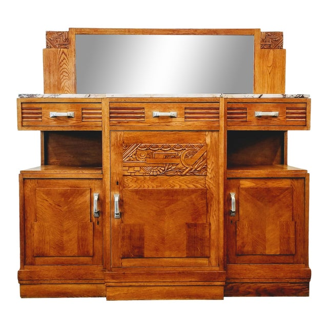 Antique French Oak Art Deco Sideboard With Mirrored Back Board For Sale
