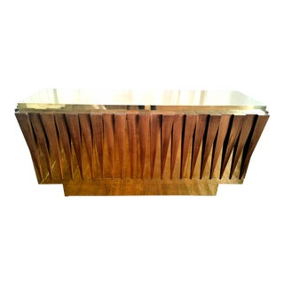 Italian hand crafted brass & wood mid century modern sideboard
