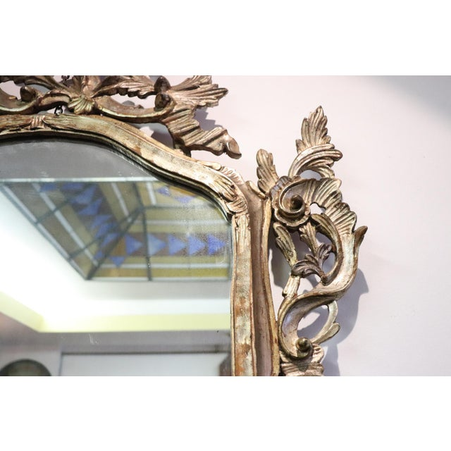 20th Century Italian Louis XV Style Silvered Wood Antique Wall Mirror For Sale - Image 6 of 11