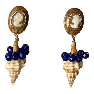 Fossil Coral, Cameo Earrings For Sale