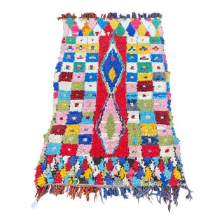 Vintage Moroccan Boucherouite Rug-3′9″ × 6′2″ For Sale