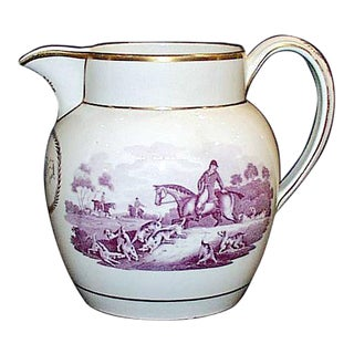 Antique English Wedgwood Pottery Pearlware Fox Hunting Jug, Circa 1810-20