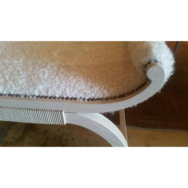 Customizable Paul Marra Neoclassical Bench in Curly Goat - Image 8 of 8