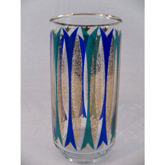 Mid-Century Gold, Blue & Teal Glasses - Set of 24 For Sale - Image 4 of 7