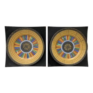 Pair of Vintage Painted & Mounted Decorative Porcelain Plates For Sale