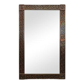 Large Mastercraft Brass Greek Key Beveled Mirror For Sale