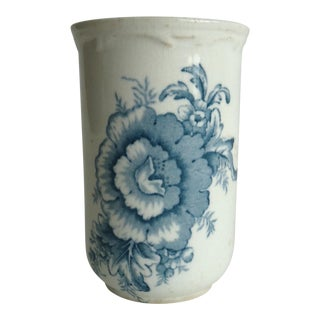 20th Century Shabby Chic Blue & White Stoneware Floral Vase For Sale