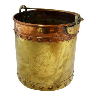 19th Century English Brass & Copper Swing Handle Bucket For Sale