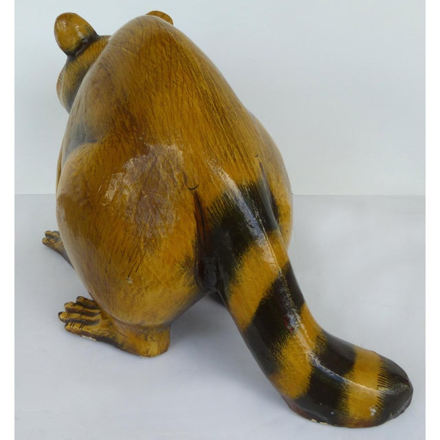 Mid 20th Century Papier Mache Raccoon Sculpture by Sergio Bustamante For Sale - Image 5 of 9