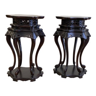 Vintage 1970s Chinese Wood Stands - a Pair For Sale