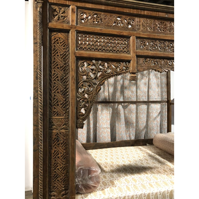 Wood Antique Balinese Indian Boho Chic Teakwood Canopy Daybed in Elizabeth Eakins Fabrics For Sale - Image 7 of 13
