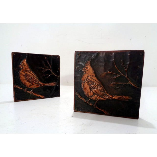 Unusual arts & crafts era artist made bookends fresh from an old family estate- c.1930's. Embossed copper cardinal/bird...