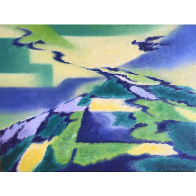 Eleanor Perry 1969 Abstract Landscape Painting - Image 1 of 6