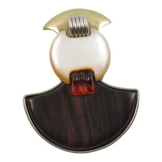 Fabrice Paris Modernist Art Deco Revival Wood Mother of Pearl Signed Pin Brooch For Sale