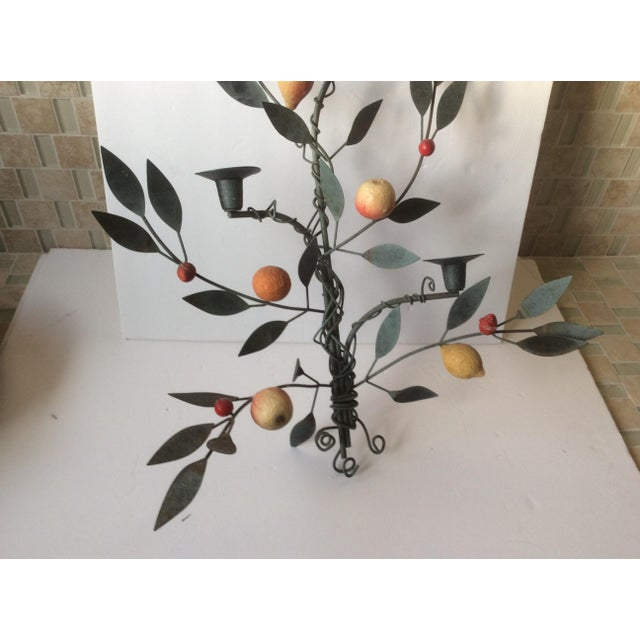 Painted Tole Candle Wall Sconce With Fruits - Image 7 of 11