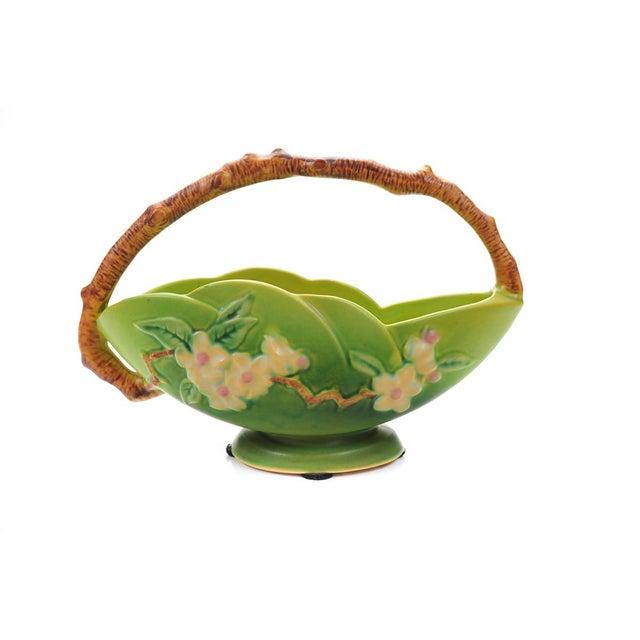 Antique Roseville Pottery Green Basket - Image 4 of 10
